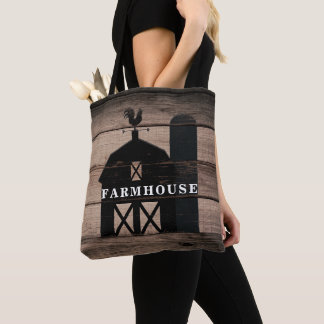 Rustic Weathered Wood Black Barn Country Farmhouse Tote Bag