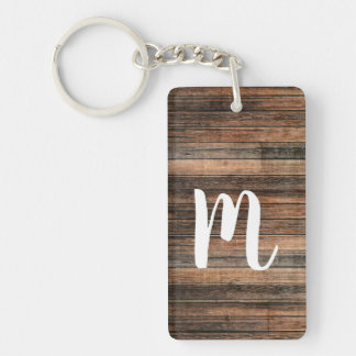 Rustic Weathered Wood Brown Barn Country Chic Key Ring