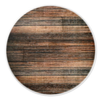 Rustic Weathered Wood Brown Barn Country Farmhouse Ceramic Knob