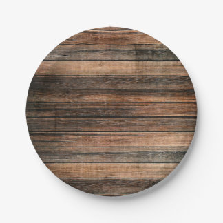 Rustic Weathered Wood Brown Barn Country Wedding Paper Plate
