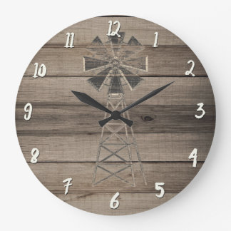 Rustic Weathered Wood Country Wind Mill Large Clock