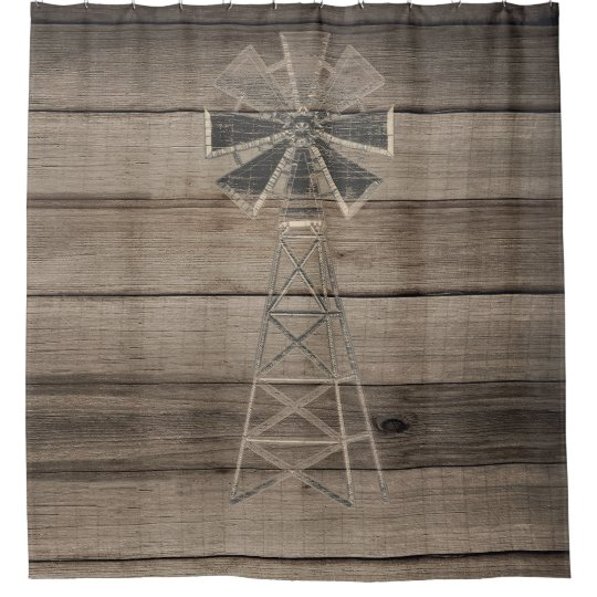 Rustic Weathered Wood Country Wind Mill Shower Curtain