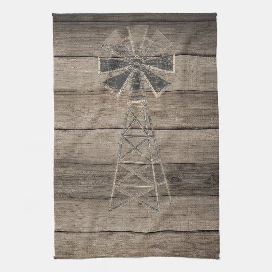 Rustic Weathered Wood Country Wind Mill Tea Towel