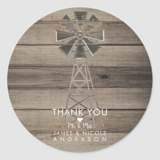 Rustic Weathered Wood Country Wind Mill Wedding Classic Round Sticker
