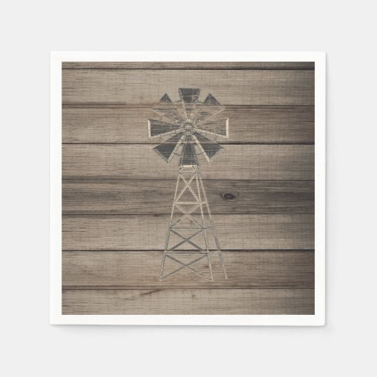 Rustic Weathered Wood Country Wind Mill Wedding Disposable Serviette