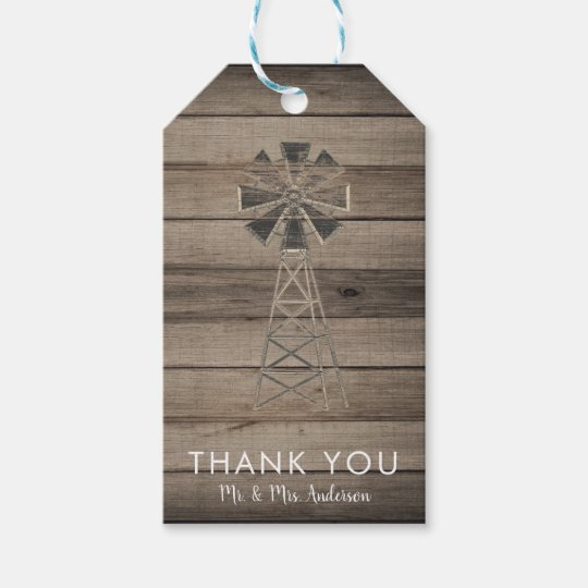 Rustic Weathered Wood Country Wind Mill Wedding Gift Tags