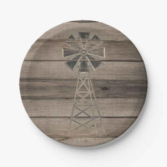 Rustic Weathered Wood Country Wind Mill Wedding Paper Plate