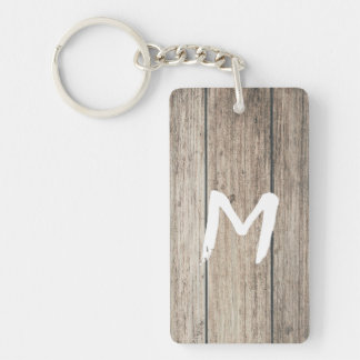 Rustic Weathered Wood Farmhouse Barn Country Key Ring