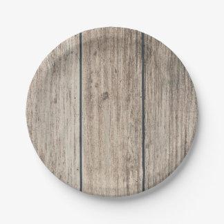 Rustic Weathered Wood Farmhouse Barn Wedding Paper Plate