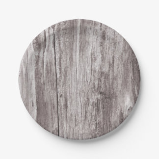 Rustic Weathered Wood Texture Paper Plate