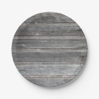 Rustic Weathered Wood Wall Paper Plate