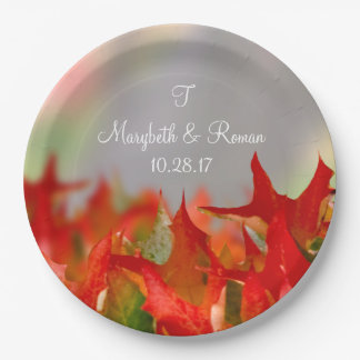 Rustic Wedding Autumn Leaves Name Monogram Fall 9 Inch Paper Plate