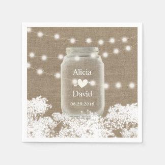 Rustic Wedding Baby's Breath String Mason Jar Disposable Napkins