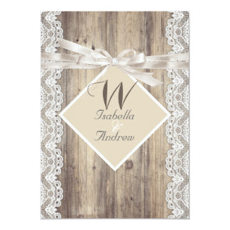 Rustic Wedding Beige White Lace Wood 13 Cm X 18 Cm Invitation Card