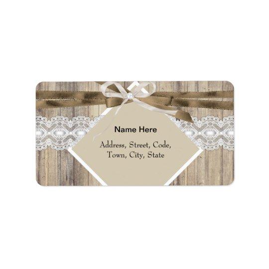 Rustic Wedding Beige White Lace Wood Burlap 2 Label
