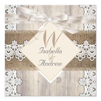 Rustic Wedding Beige White Lace Wood Burlap AB 13 Cm X 13 Cm Square Invitation Card