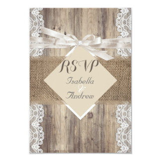 Rustic Wedding Beige White Lace Wood RSVP 9 Cm X 13 Cm Invitation Card