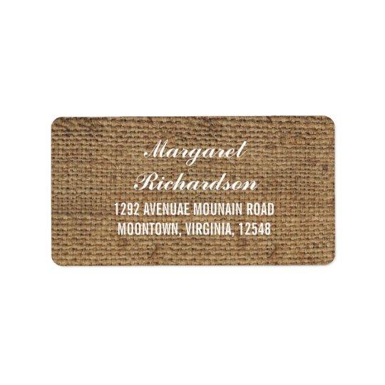 rustic wedding burlap address labels