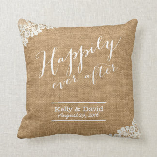 Rustic Wedding Burlap & Lace Happily Ever After Cushion
