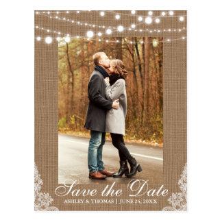 Rustic Wedding Burlap Lace Lights Save the Date Postcard