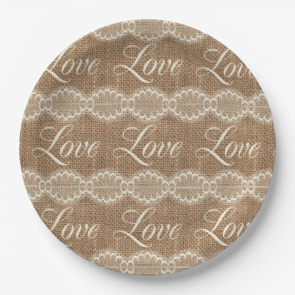 Rustic Wedding Burlap Lace Love 9 Inch Paper Plate