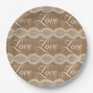 Rustic Wedding Burlap Lace Love 9 Inch Paper Plate