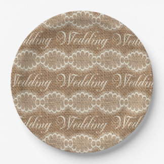 Rustic Wedding Burlap Lace Paper Plate