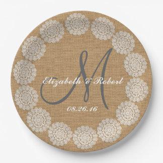 Rustic Wedding Burlap Monogram Names Lace 9 Inch Paper Plate