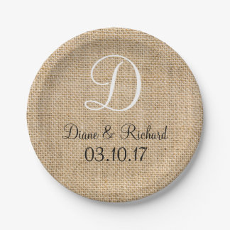 Rustic Wedding Burlap Name Date Monogram Paper Plate