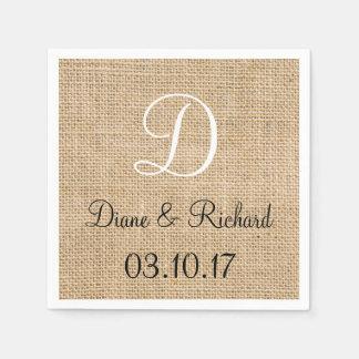 Rustic Wedding Burlap Name Date Monogram Paper Serviettes