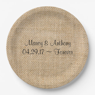 Rustic Wedding Burlap Personalized Names Date 9 Inch Paper Plate