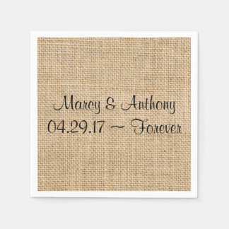 Rustic Wedding Burlap Personalized Names Date Disposable Serviette