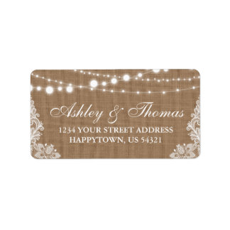 Rustic Wedding Burlap String Lights Lace Address Address Label