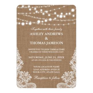 Rustic Wedding Burlap String Lights Lace Card R