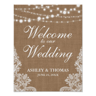 Rustic Wedding Burlap String Lights Lace Poster