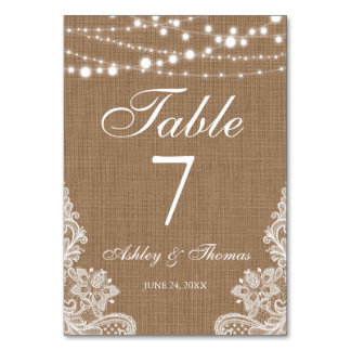 Rustic Wedding Burlap String Lights Lace Table Card