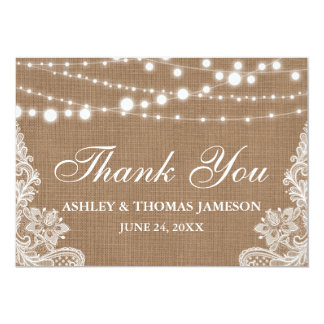 Rustic Wedding Burlap String Lights Lace Thank You Card