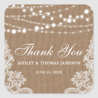 Rustic Wedding Burlap String Lights Lace Thank You Square Sticker