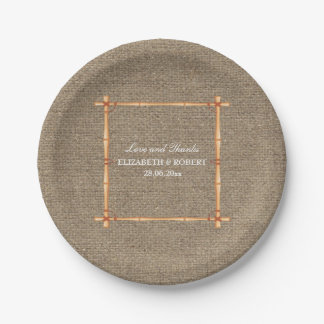 Rustic Wedding Country Backyard Burlap Paper Plate 7 Inch Paper Plate