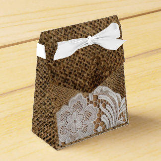 rustic wedding country burlap lace wedding favour box