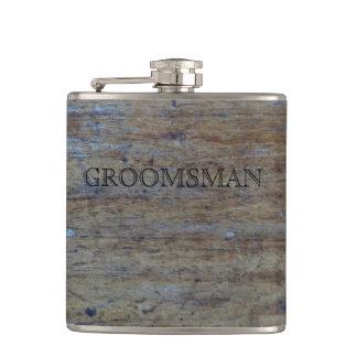 Rustic Wedding Distressed Wood | Manly Groomsman Hip Flask