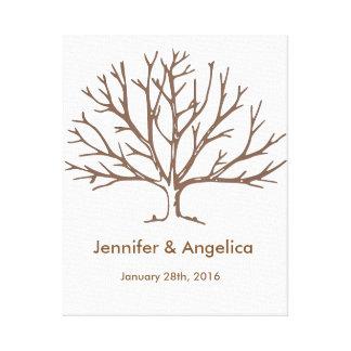 Rustic Wedding Fingerprint Tree Canvas Print