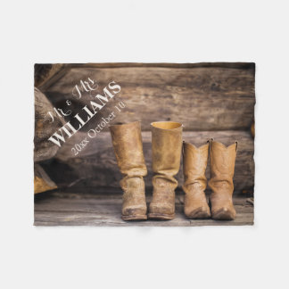 Rustic wedding fleece blanket