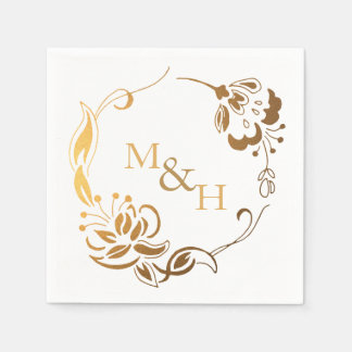Rustic Wedding Gold Wreath Monogram Paper Napkin