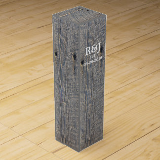 rustic wedding gray barn wood country wedding wine gift box
