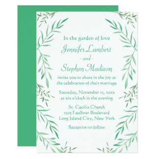 Rustic Wedding Green Watercolor Leaves Ferns Leaf Card