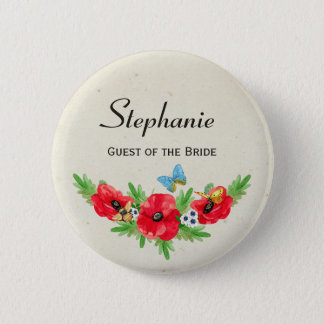 Rustic Wedding Guest Red Poppy Watercolor and Name 6 Cm Round Badge