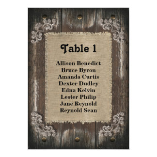 Rustic Wedding Guest Seating List - Wood Burlap Card