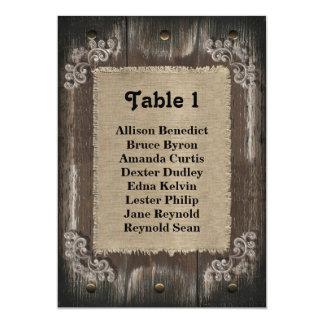 Rustic Wedding Guest Seating List - Wood Burlap Card