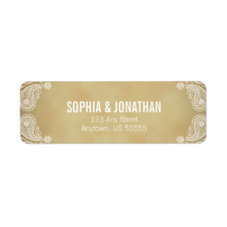 Rustic Wedding I Hand Drawn Paisley Return Address Return Address Label